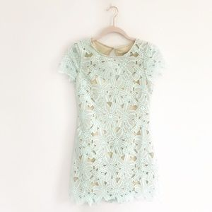 NWT De Philo Turquoise Nude Lace Short Dress